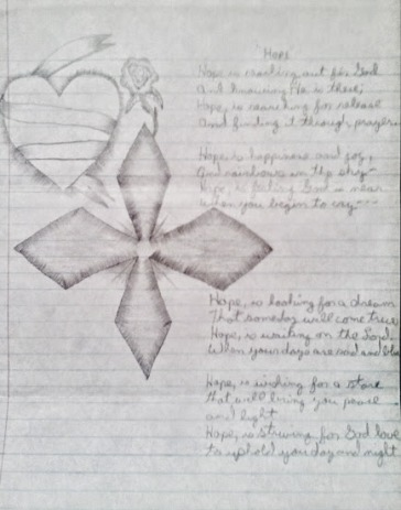 Drawn and written by Jerry Dingler - he was in jail at the time and he sent this to me. We think this is from a time right before we got married. I love for Jerry to write and draw. He is such an inspiration and I thank the LORD for what He pours into each of us.